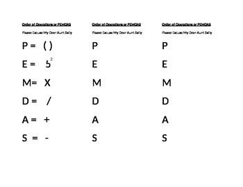 PEMDAS printable order of operations