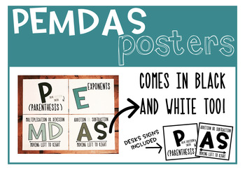 PEMDAS signs (Order of Operations)