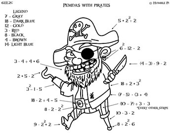 PEMDAS with Pirates- 6.EE.2c