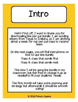 PEN PAL BUNDLE: No Prep writing prompts for the whole school year.