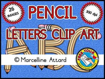 BACK TO SCHOOL CLIPART: PENCIL ALPHABET CLIPART: UPPER CAS