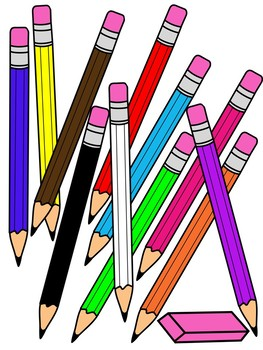 PENCIL CLIPART WITH ERASER * COLOR AND BLACK AND WHITE