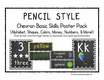 PENCIL Chevon Basic Skills Poster Pack (Alphabet, Shapes,