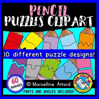 PENCIL PUZZLES CLIP ART: SELF-CORRECTING PUZZLE TEMPLATES: BACK TO SCHOOL