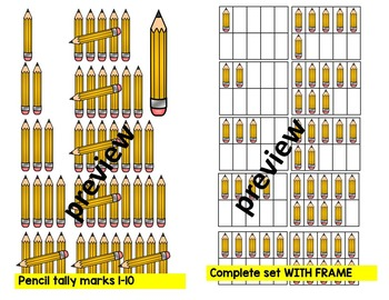 Place value clipart, ten frames and tally marks clip art-pencils