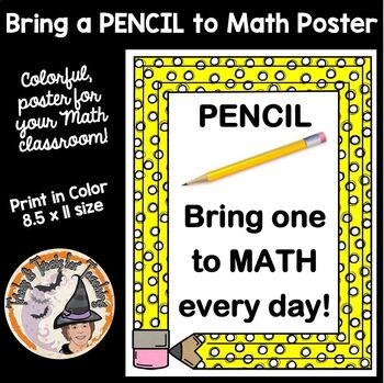 PENCIL Bring One to Math Everyday! Poster Sign for Classroom Door