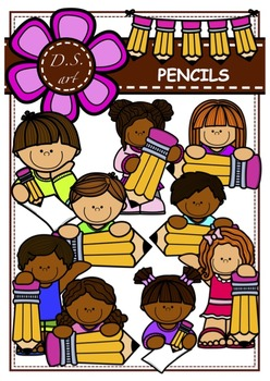 PENCILS Digital Clipart (color and black&white)