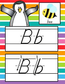 PENGUIN theme - Alphabet Cards, Handwriting, D'Nealian, ABC cards with pictures
