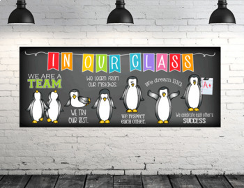 PENGUIN theme - Classroom Decor: LARGE BANNER, In Our Class