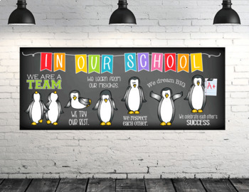 PENGUIN theme - Classroom Decor: LARGE BANNER, In Our School