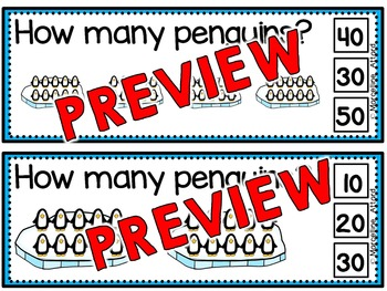 WINTER MATH CENTER KINDERGARTEN, 1ST GRADE (PENGUINS SKIP COUNTING BY 10'S)