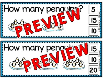 PENGUINS SKIP COUNTING TASK CARDS: COUNTING BY FIVES CLIP CARDS: WINTER MATH