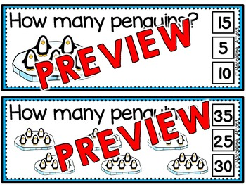 WINTER MATH CENTER FIRST GRADE (PENGUINS SKIP COUNTING ACTIVITY) COUNT BY 5S