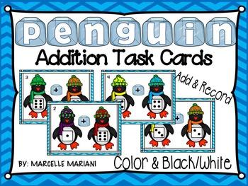 PENGUINS-ADDITION TASK CARDS (1-10)- PENGUINS MATH CENTER