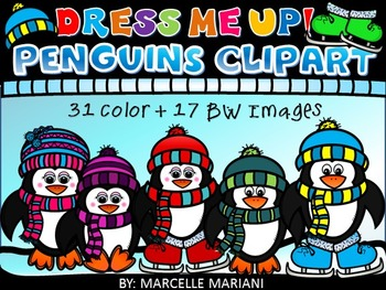 Build a Penguin Clip art-Winter Penguins clipart- Dress me up penguins