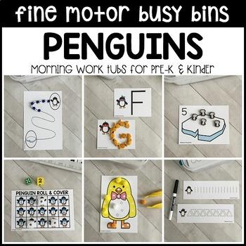 PENGUINS Fine Motor Busy Bins (winter morning work tubs) - Preschool, Pre-K