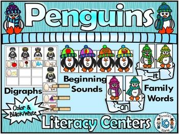 PENGUINS- Literacy Centers- Penguin Literacy Activities for kindergarten