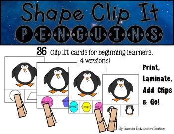 PENGUINS Shape Clip It {A Beginning Work Task)