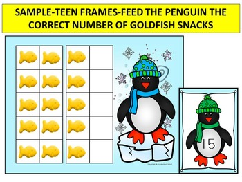 PENGUINS-TEN & TEEN FRAMES-Feed The Penguin! MATH CENTER