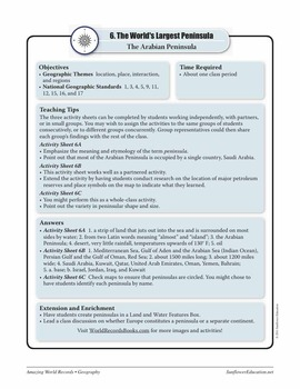 PENINSULAS—Geography Worksheets and Activities