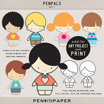 PENPALS, Set 1   hi-res clip art figures