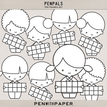PENPALS, Ten Frame Set | hi-res clip art figures