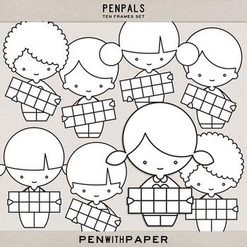PENPALS, Ten Frame Set   hi-res clip art figures