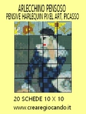 PENSIVE HARLEQUIN PIXEL ART, PICASSO. maxi poster