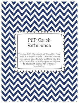 PEP Quick Reference Sheet