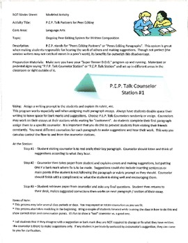 P.E.P. Talk Counselors - Peer Essay Editing and Conferencing Program