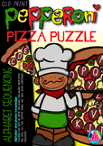 PEPPERONI PIZZA PUZZLE - ALPHABET SEQUENCING (QLD, NSW, VIC, SA AND TAS FONTS)