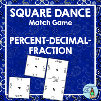 PERCENT DECIMAL FRACTION Square Dance Match Game