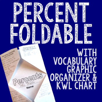 PERCENT Foldable, Graphic Organizer, and KWL Chart