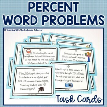 PERCENT WORD PROBLEMS Task Cards for Higher-Order Thinking