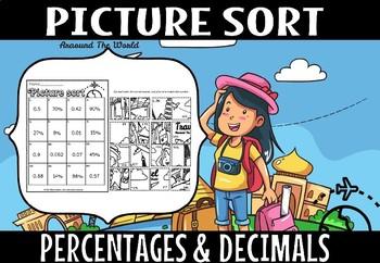 PERCENTAGES AND DECIMALS  picture sort.