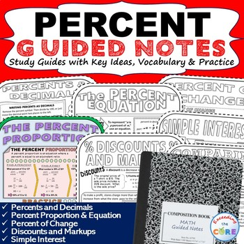 PERCENTS Doodle Notes - Interactive Math Notebooks ( Study Guides )