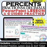 PERCENTS, FRACTIONS & DECIMALS PowerPoint Lesson & Practice | Distance Learning