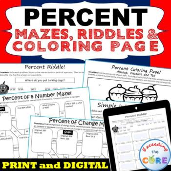 PERCENTS Mazes, Riddles & Coloring Page (Fun MATH Activities)