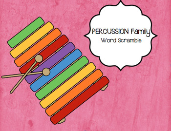 PERCUSSION Instruments Word Puzzle