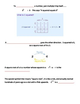 PERFECT SQUARE NOTES AND ACTIVITY SHEET