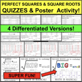 PERFECT SQUARES & SQUARE ROOTS QUIZZES 4 Differentiated Versions + FUN ACTIVITY!