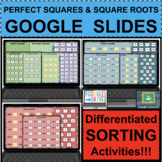 PERFECT SQUARES SQUARE ROOTS SORT GOOGLE SLIDES Click & Drag Distance Learning
