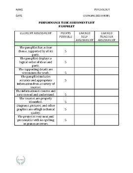 PERFORMANCE TASK ASSESSMENT (teacher and self assessment)