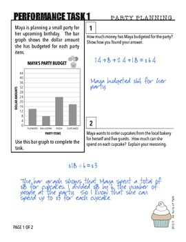 MATH PERFORMANCE TASKS {Party Planning} GRADES 3 to 5