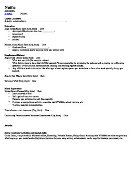 PERFORMING ARTS RESUME OUTLINE AND SAMPLE