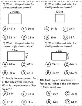 PERIMETER ASSESSMENT: 10 Question assessment for Gradecam CCSS 4.MD.A.3