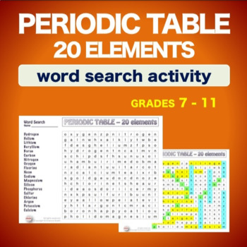 Periodic table 20 elements wordsearch vocabulary warm up periodic table 20 elements wordsearch vocabulary warm up bell ringer urtaz Gallery