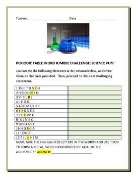 PERIODIC TABLE: ELEMENTS : WORD JUMBLE FUN W/ BONUS CHALLENGE