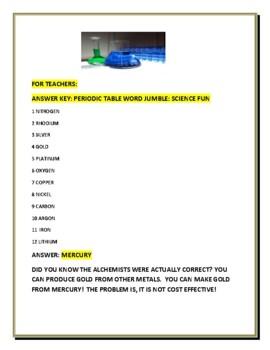 PERIODIC TABLE: ELEMENTS : WORD JUMBLE FUN W/ BONUS CHALLENGE