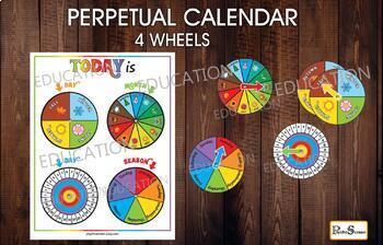 PERPETUAL CALENDAR with 4 wheels,  Today is... Rainbow Preschool activity set, K